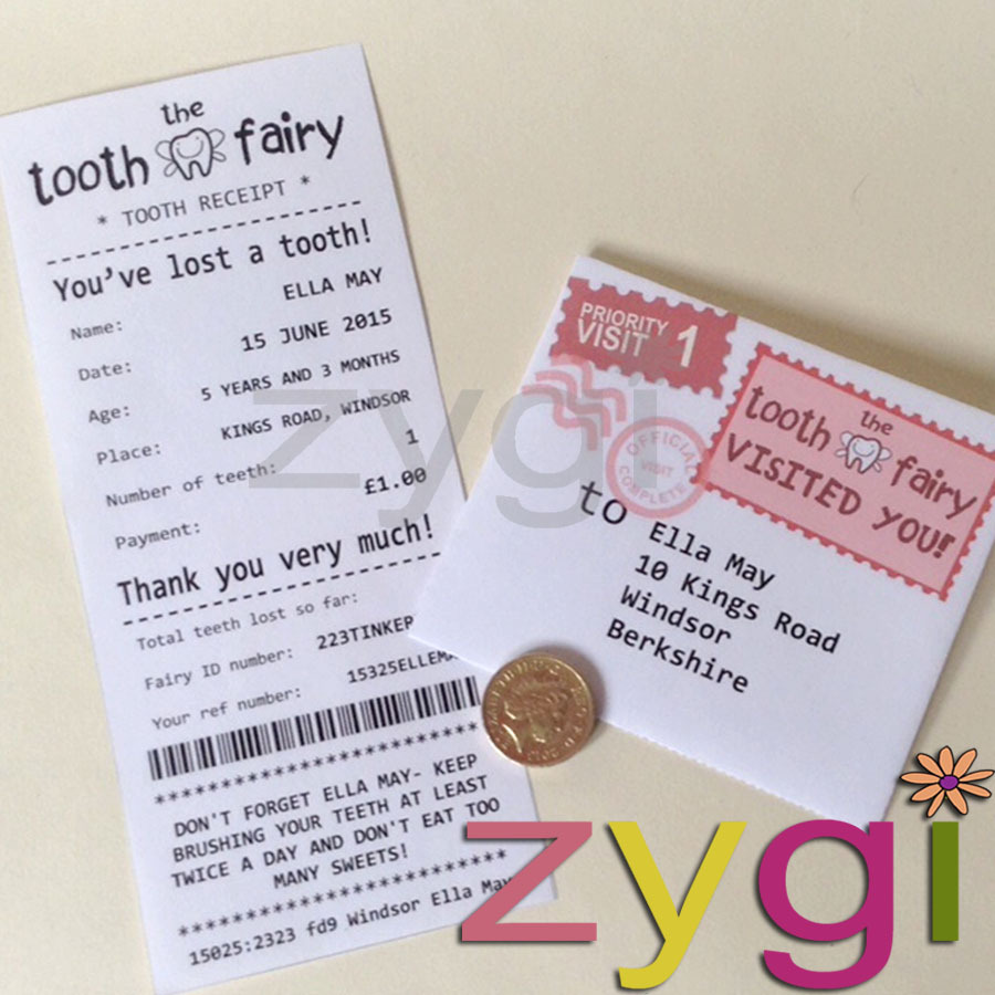 graphic relating to Free Printable Tooth Fairy Letter and Envelope titled teeth fairy package editable receipt and envelope