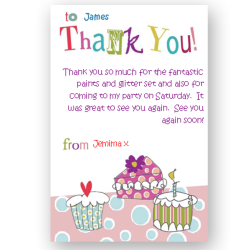 thank you card editable little cakes