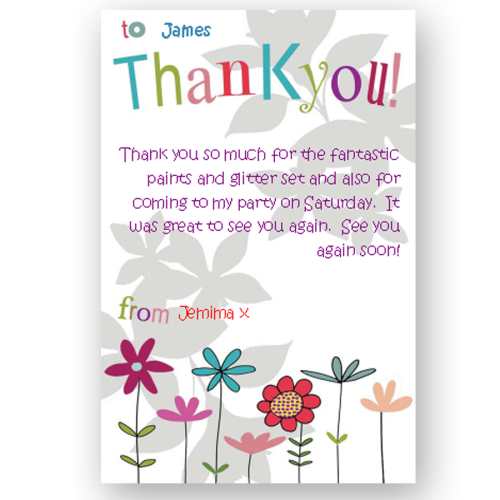 thank you card editable flowers