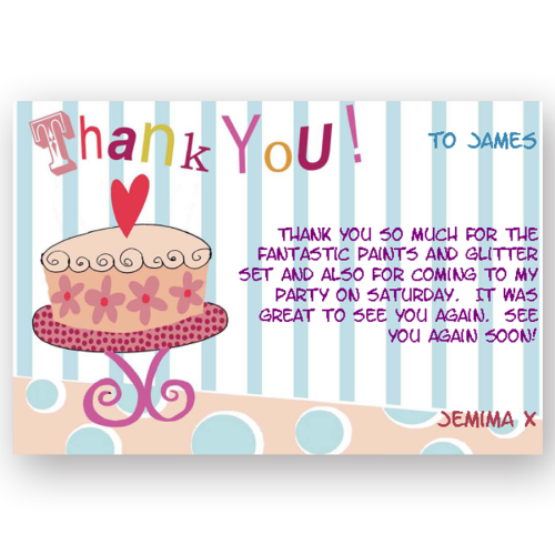 thank you card editable birthday cake