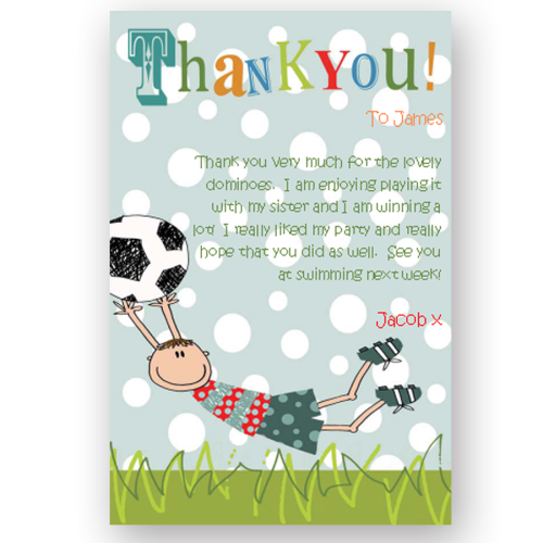 thank you card editable football