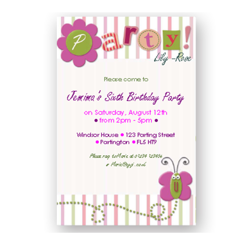 invitation editable butterfly
