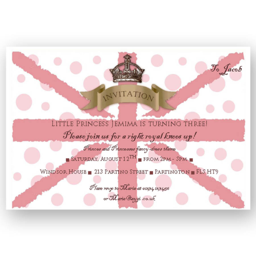 invitation editable union jack pink