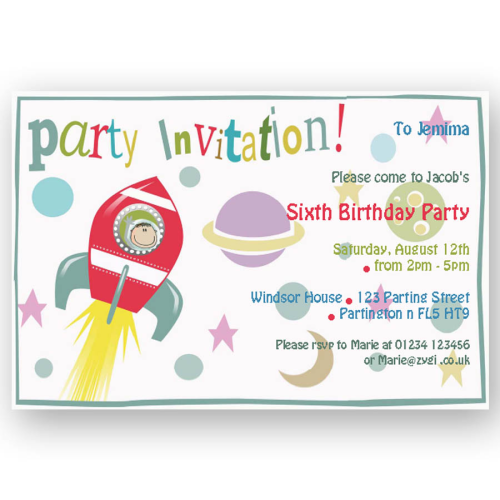 invitation editable space rocket