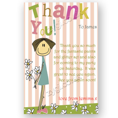 thank you card editable flower girl