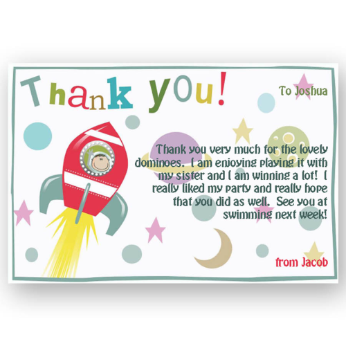 thank you card editable rocket