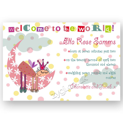new baby announcement editable fairy princess on the moon