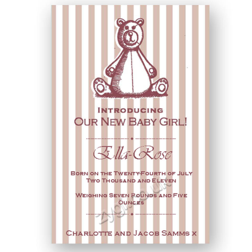 new baby announcement editable woodcut teddy bear pink new baby