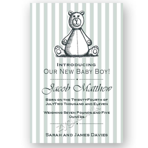 new baby announcement editable woodcut teddy bear blue