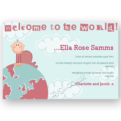 new baby announcement editable baby on the world pink