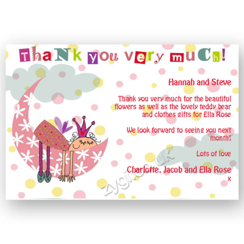 thank you card editable princess on the moon