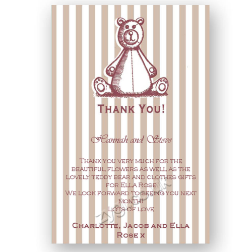 thank you card editable woodcut teddy bear pink