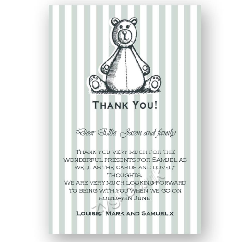 thank you card editable woodcut teddy bear blue