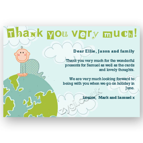thank you card editable baby on world blue