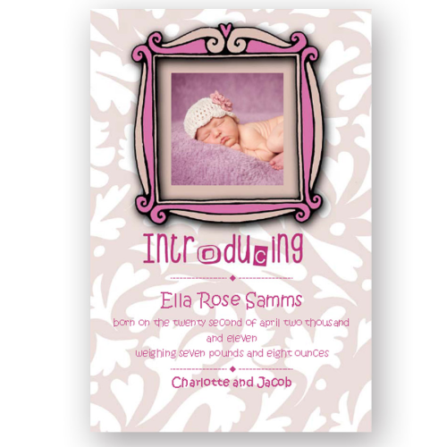 new baby announcement editable fancy picture frame pink