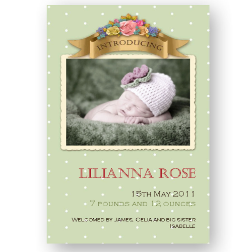 new baby announcement editable vintage baby pink