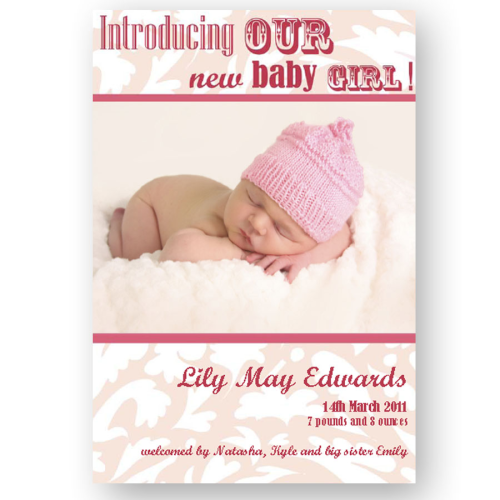 new baby announcement editable flock modern pink baby