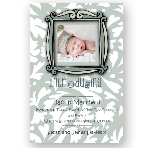 new baby announcement editable fancy picture frame blue