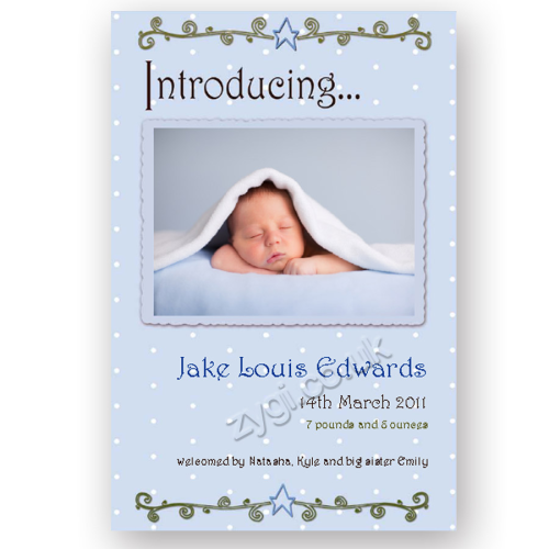 new baby announcement editable retro baby blue