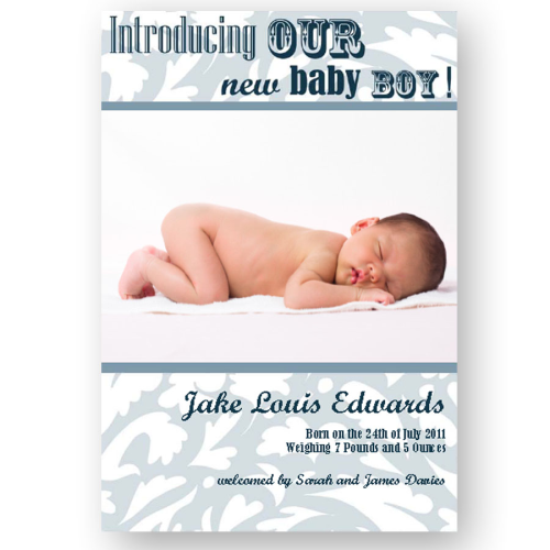 new baby announcement editable flock modern blue baby