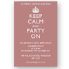 invitation editable keep calm and party on pink
