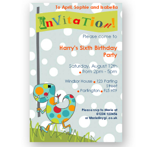 invitation editable dinosaur