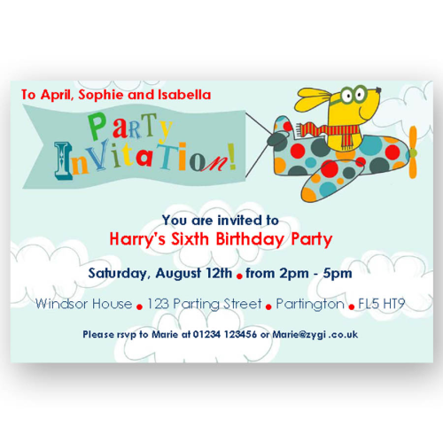 invitation editable flying dog