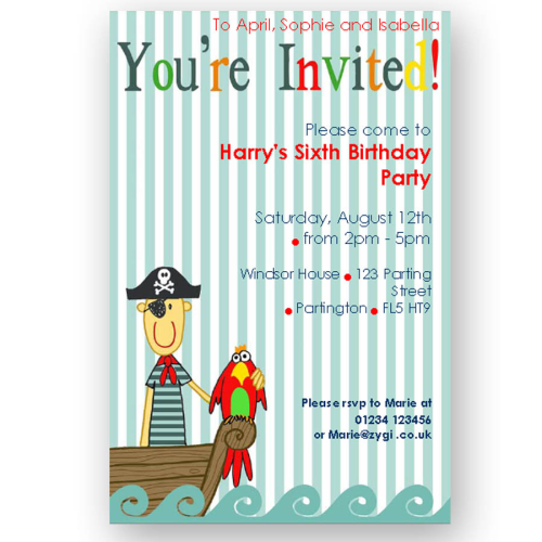 invitation editable pirate