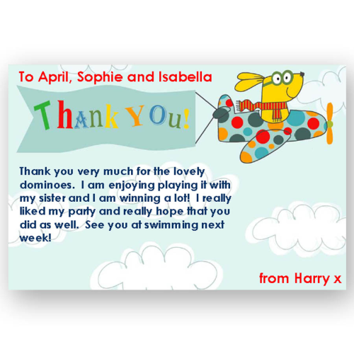 thank you card editable flying dog