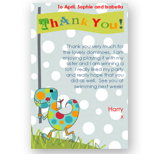 thank you card editable dinosaur
