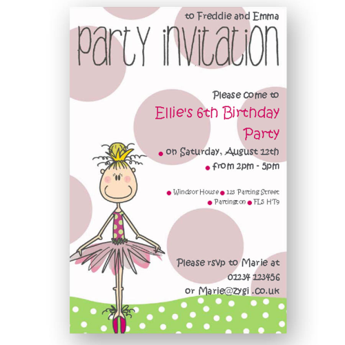 invitation editable ballerina