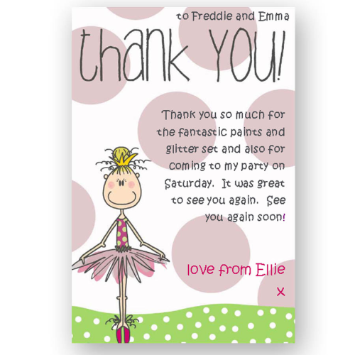 thank you card editable ballerina