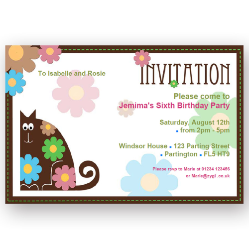 invitation editable flower cat