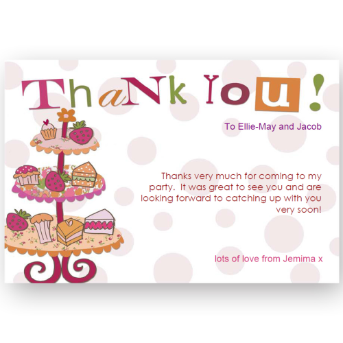 thank you card editable afternoon tea party