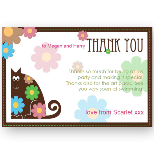 thank you card editable flower cat