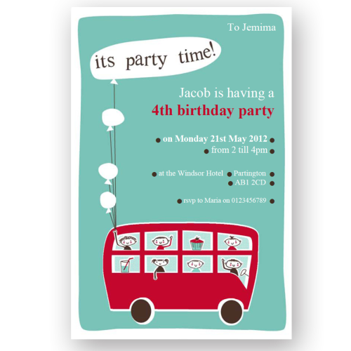 invitation editable little red bus