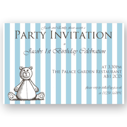 invitation editable teddybear blue woodcut
