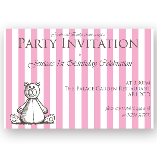 invitation editable woodcut pink