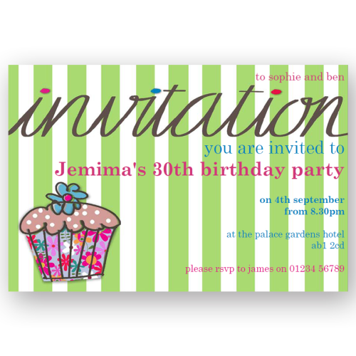 invitation editable stripey cupcake