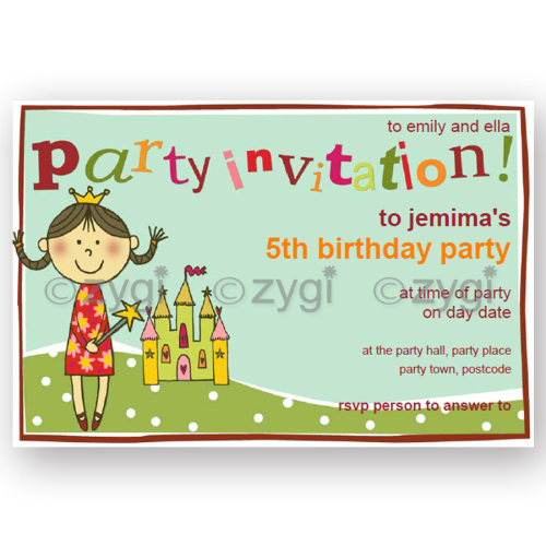 invitation editable princess and castle