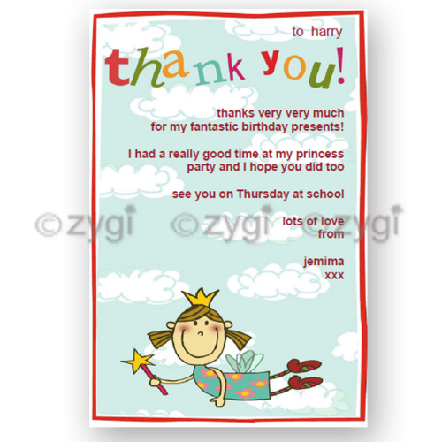 thank you card editable princess fairy