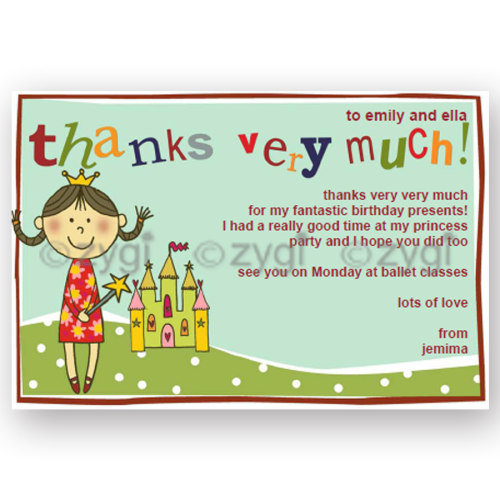 thank you card editable princess