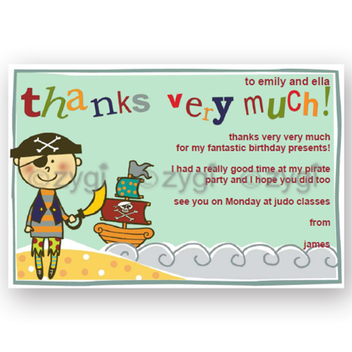 thank you card editable pirate