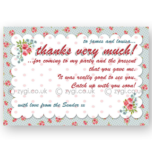 thank you card editable vintage rose tea party blue