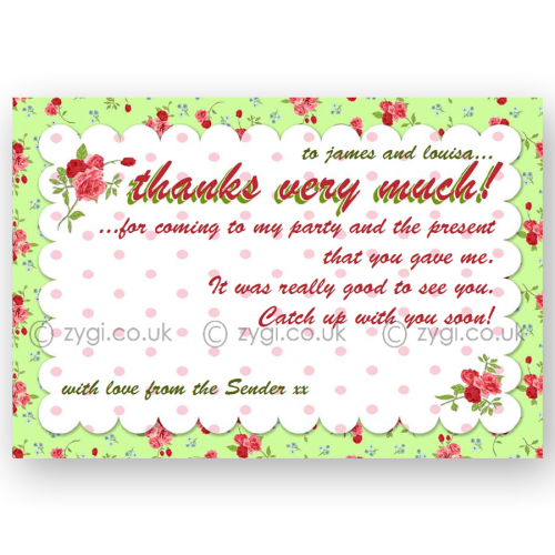 thank you card editable vintage rose tea party green