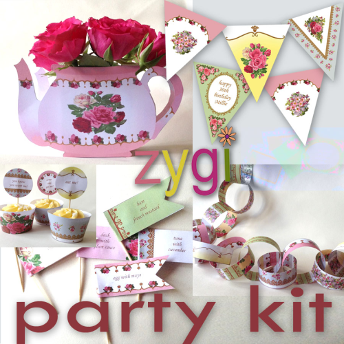 editable vintage shabby chic tea party kit