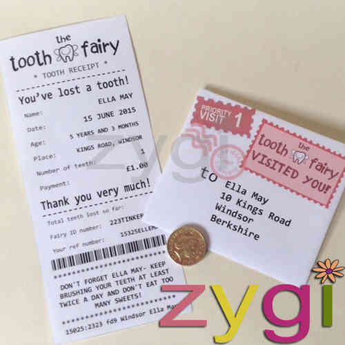 tooth fairy kit editable receipt and envelope