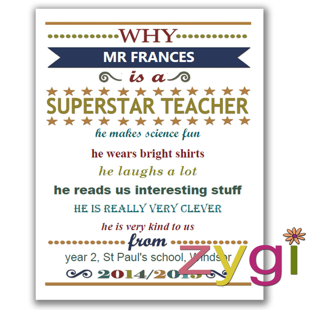 Teacher Appreciation Gift Certificate Funky Blue on Thank You Letter To Teacher From Parent