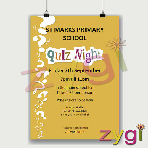 charity PTA poster editable quiz night poster