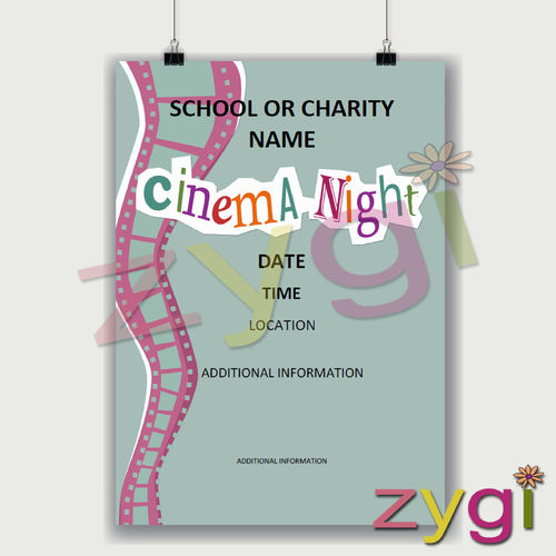 charity PTA poster editable cinema night poster